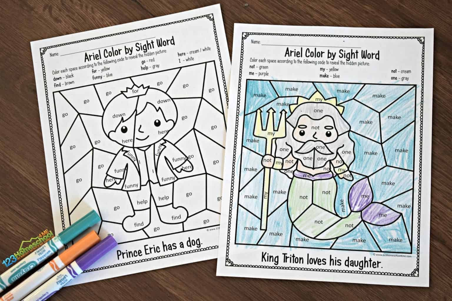 Free Color Word Worksheets Free Little Mermaid Color by Sight Words