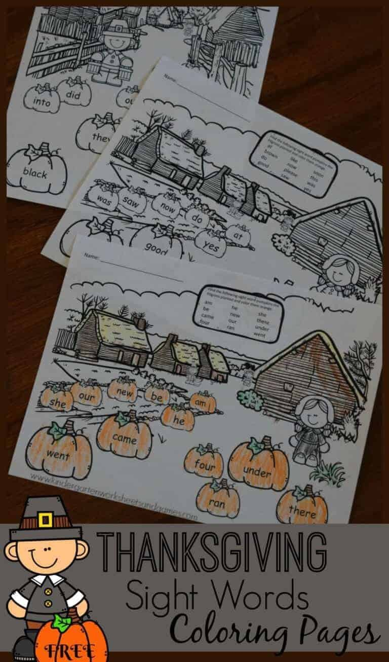 Free Color Word Worksheets Thanksgiving Sight Word Coloring Sheets