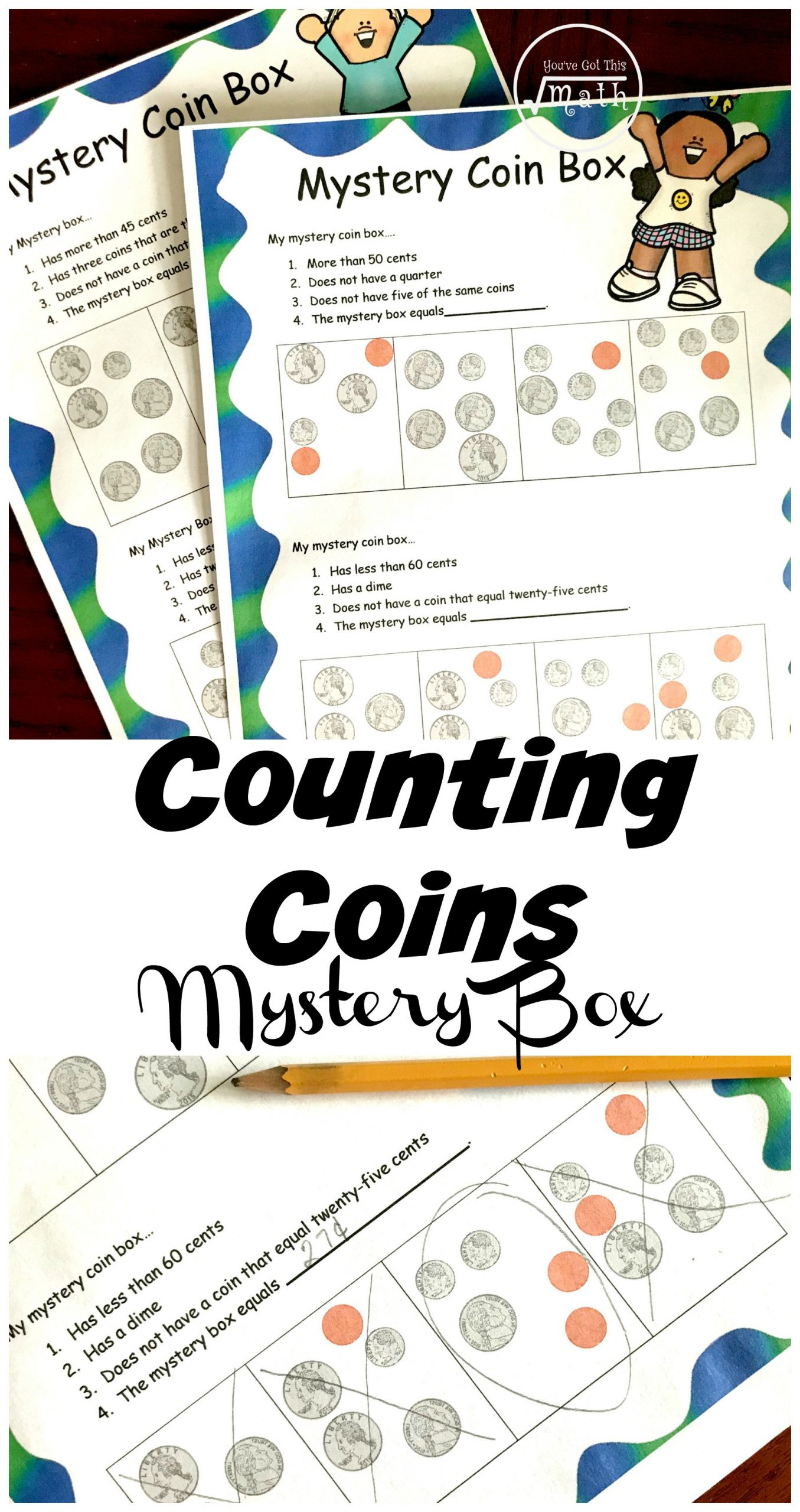 Counting Coin worksheet mystery box