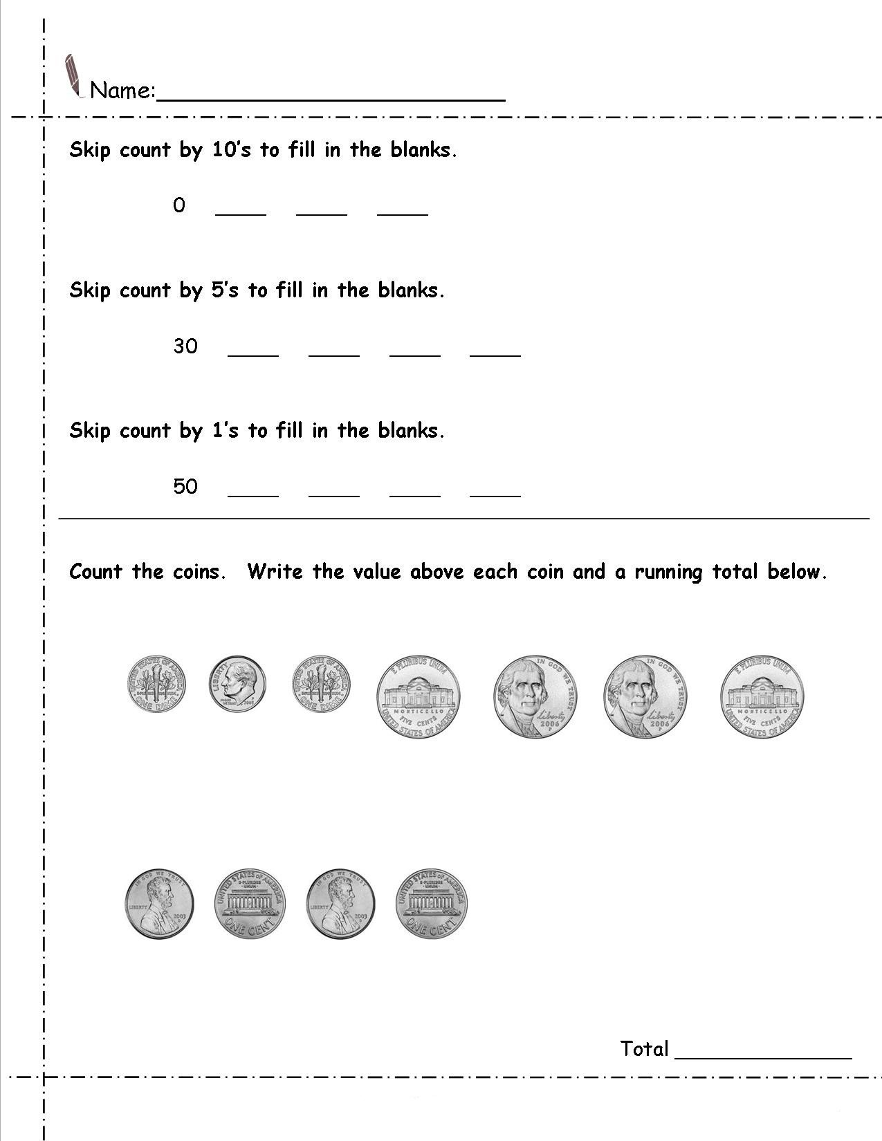 Free Printable 2nd Grade Money Worksheets