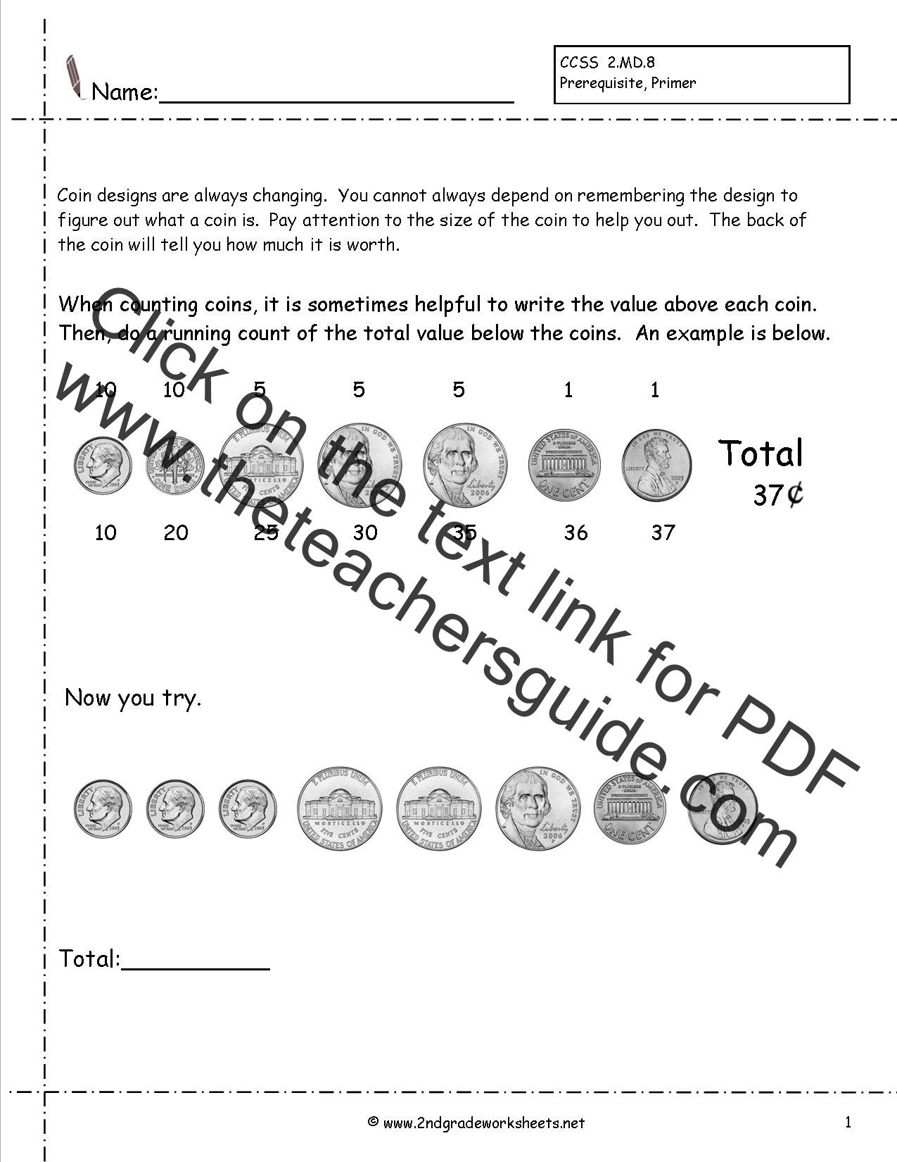 Free Counting Coins Worksheets Counting Coins and Money Worksheets and Printouts