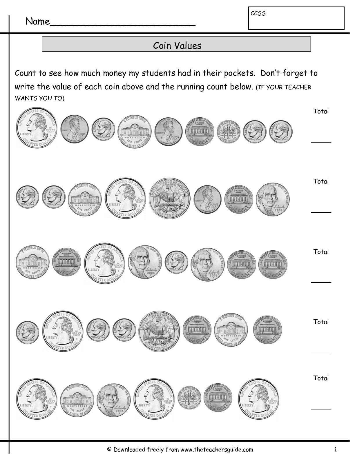 Free Counting Coins Worksheets Counting Coins Worksheets From the Teacher S Guide