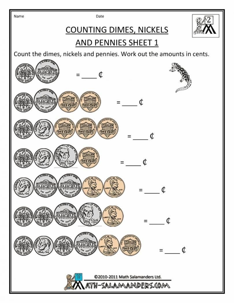Free Counting Coins Worksheets Money Worksheets for Second Grade