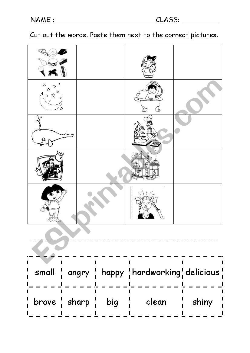 Free Cut and Paste Worksheets Adjectives Cut and Paste Esl Worksheet by Fazzy