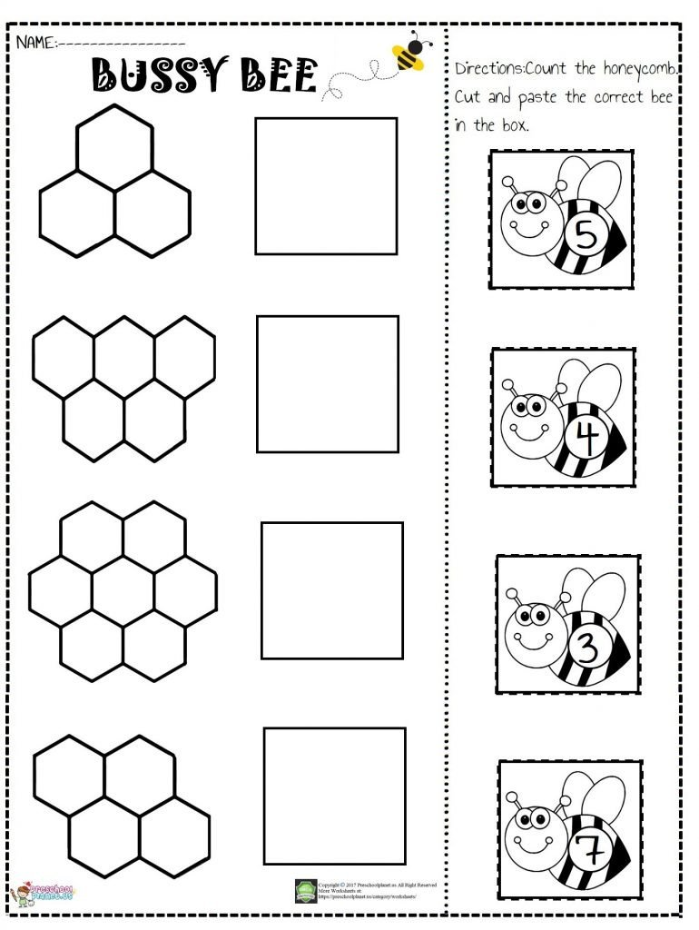 bee number cut and paste worksheet 770x1024