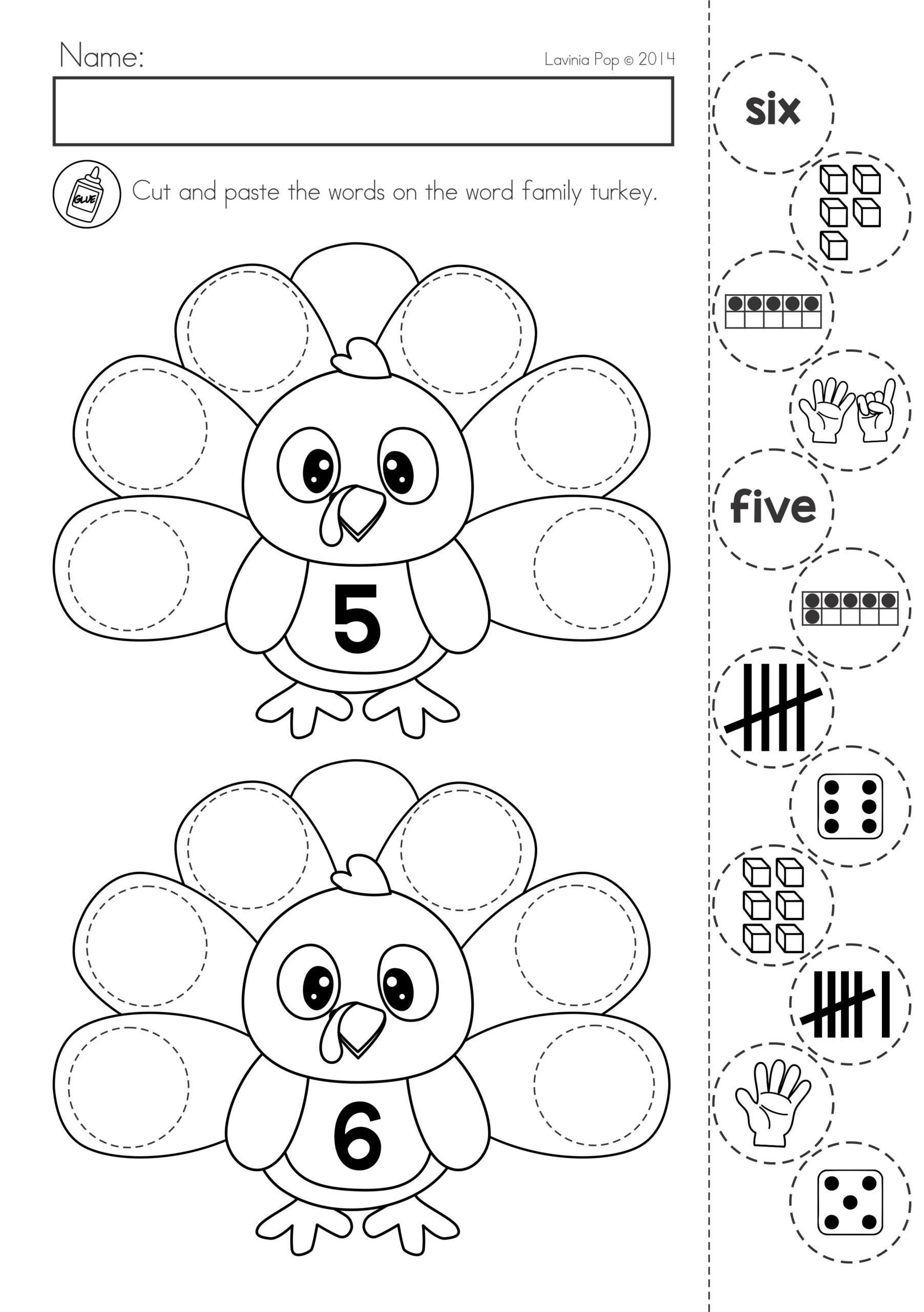 Free Cut and Paste Worksheets Thanksgiving Math Literacy Worksheets and Activities Free