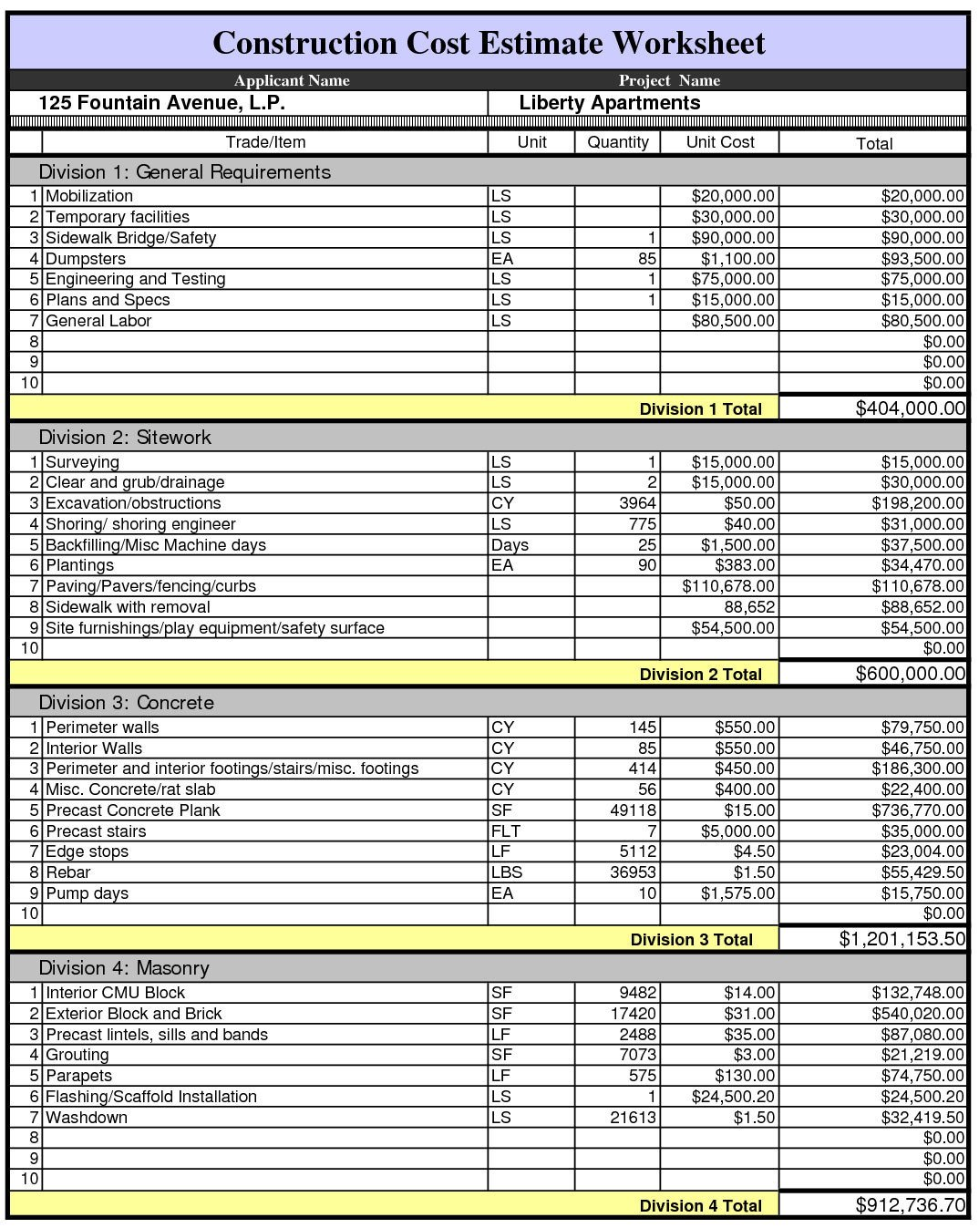 Free Estimation Worksheet Construction Estimate Worksheet
