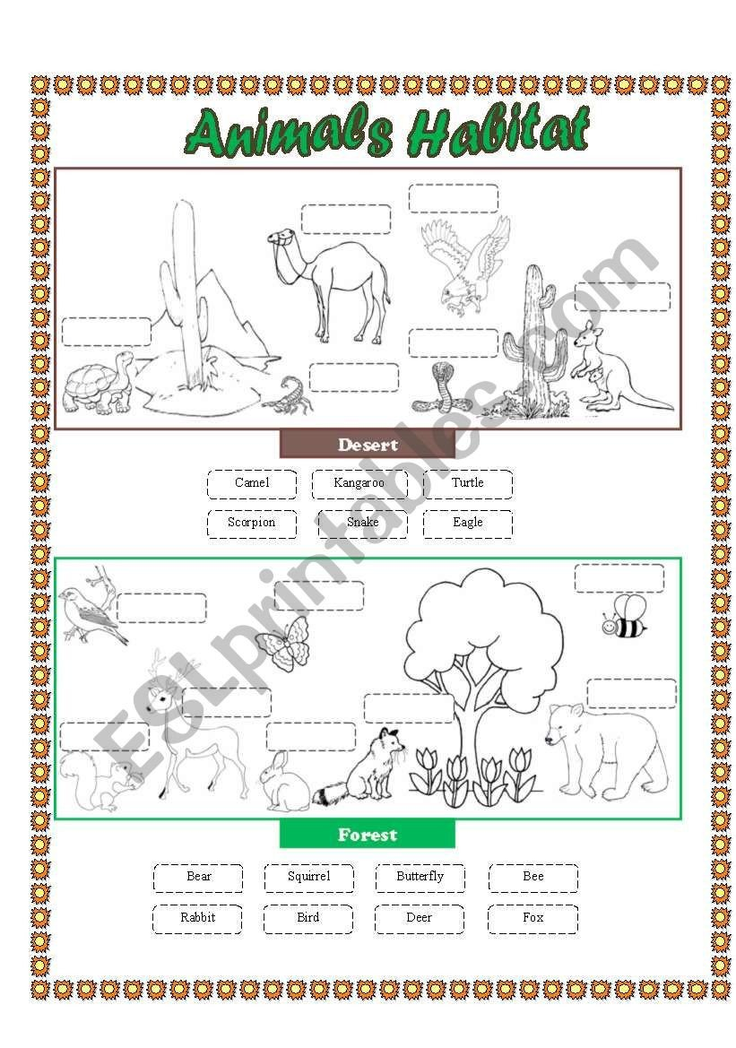 Free Habitat Worksheets Animals Habitat Desert forest Cut and Paste Part 2
