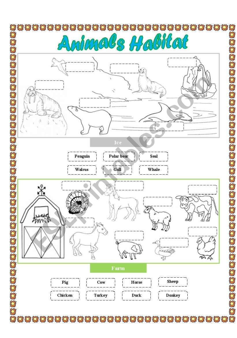 Free Habitat Worksheets Animals Habitat Farm Ice Cut and Paste Esl Worksheet