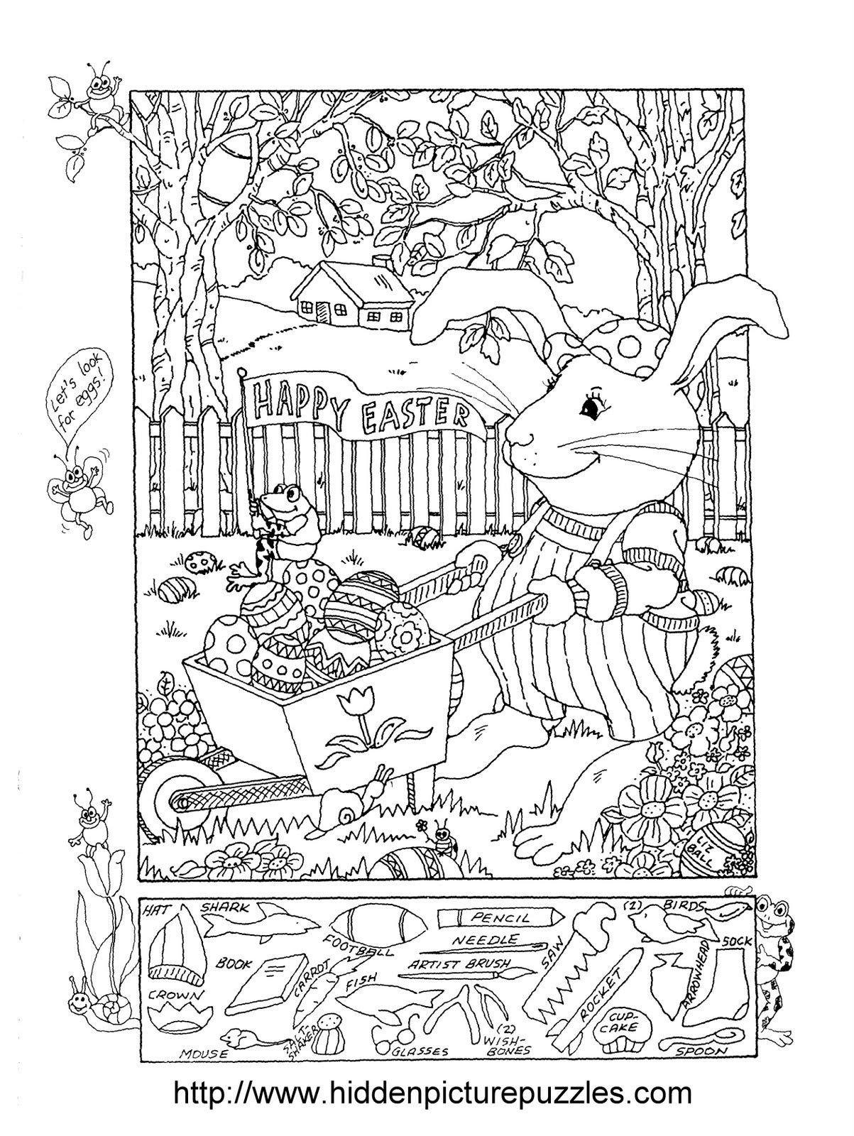 Free Hidden Picture Worksheets Easter Hidden Puzzle and Coloring Worksheets Mixed