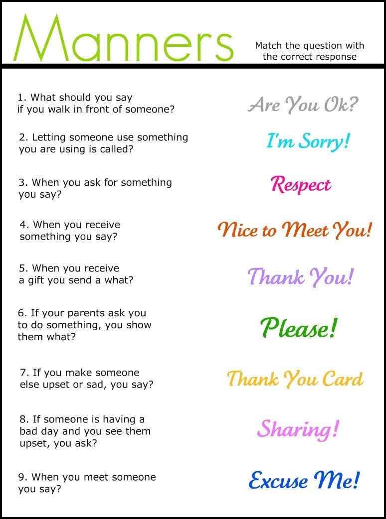 manners matchig worksheet