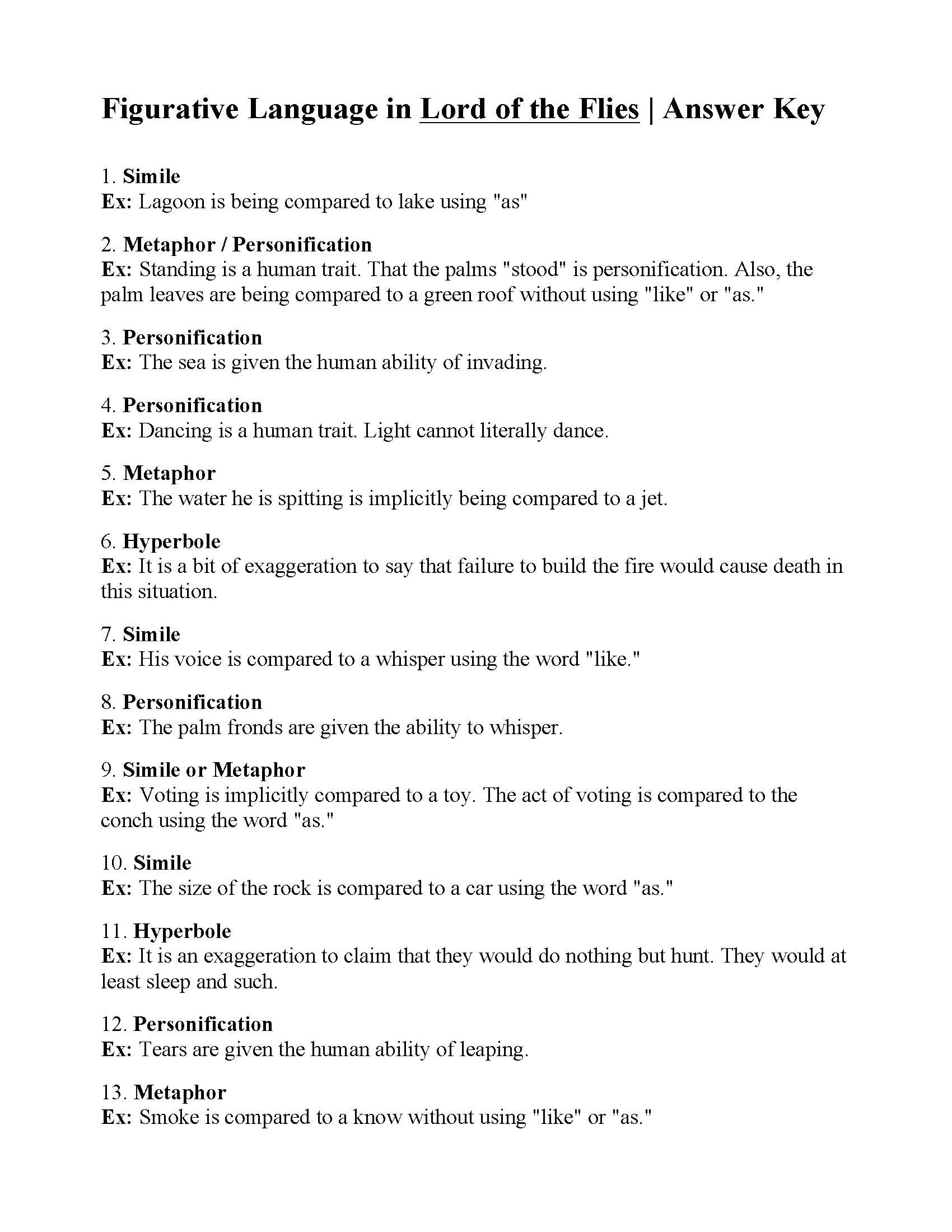 Free Personification Worksheets Elementary Personification Worksheet