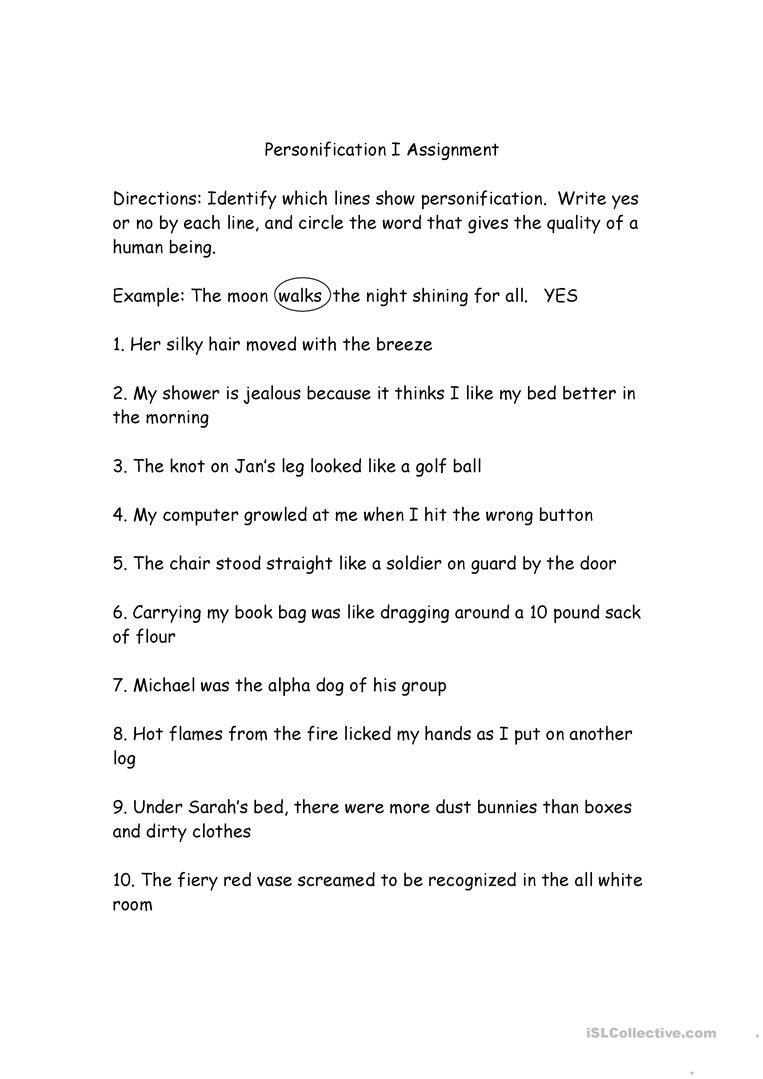 Free Personification Worksheets Personification English Esl Worksheets for Distance