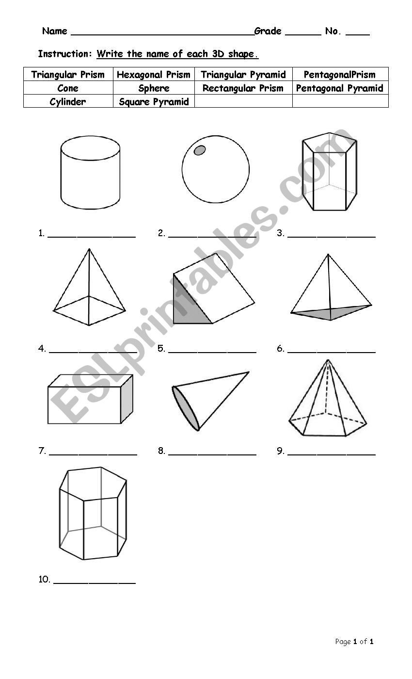 Free Printable 3d Shapes Worksheets 3d Shapes Esl Worksheet by Sirada54
