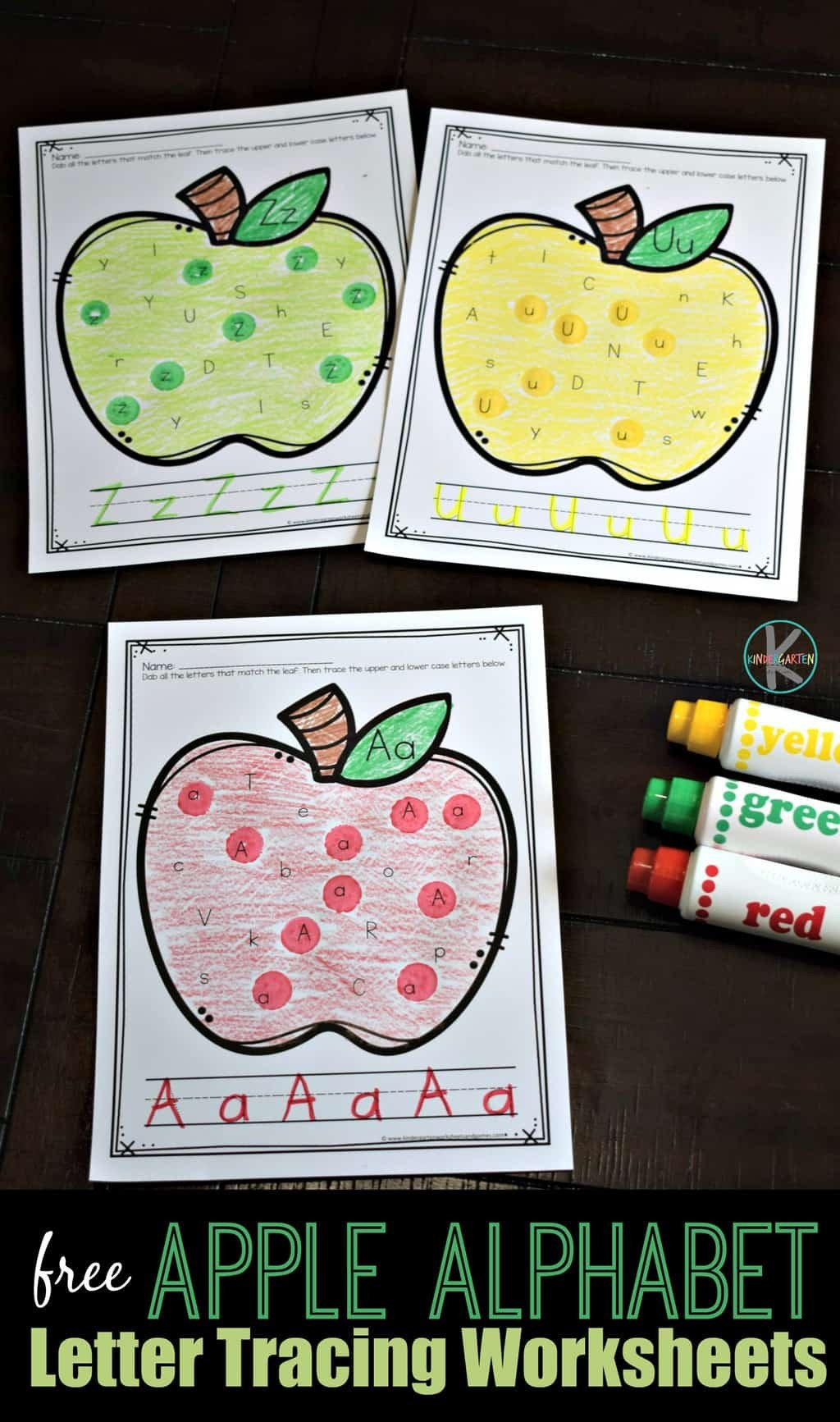 Free Printable Apple Worksheets Apple Find the Letter Tracing Worksheets