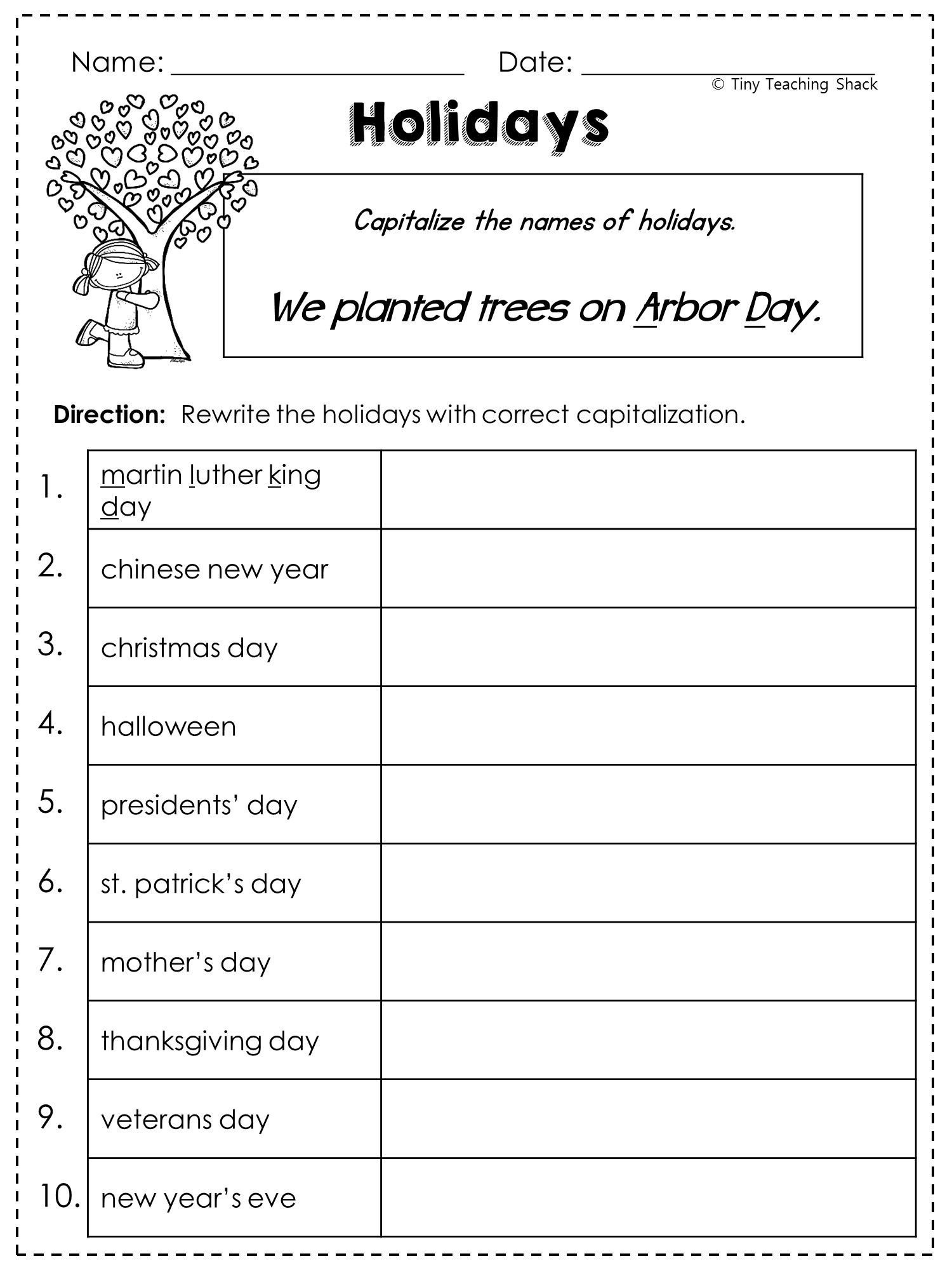 Free Printable Capitalization Worksheets 2nd Grade Language Arts and Grammar Practice Sheets Freebie
