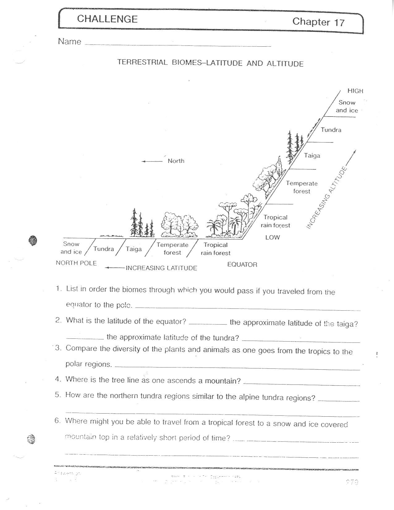 Free Printable Ecosystem Worksheets Biomes at A Glance Worksheet Answers