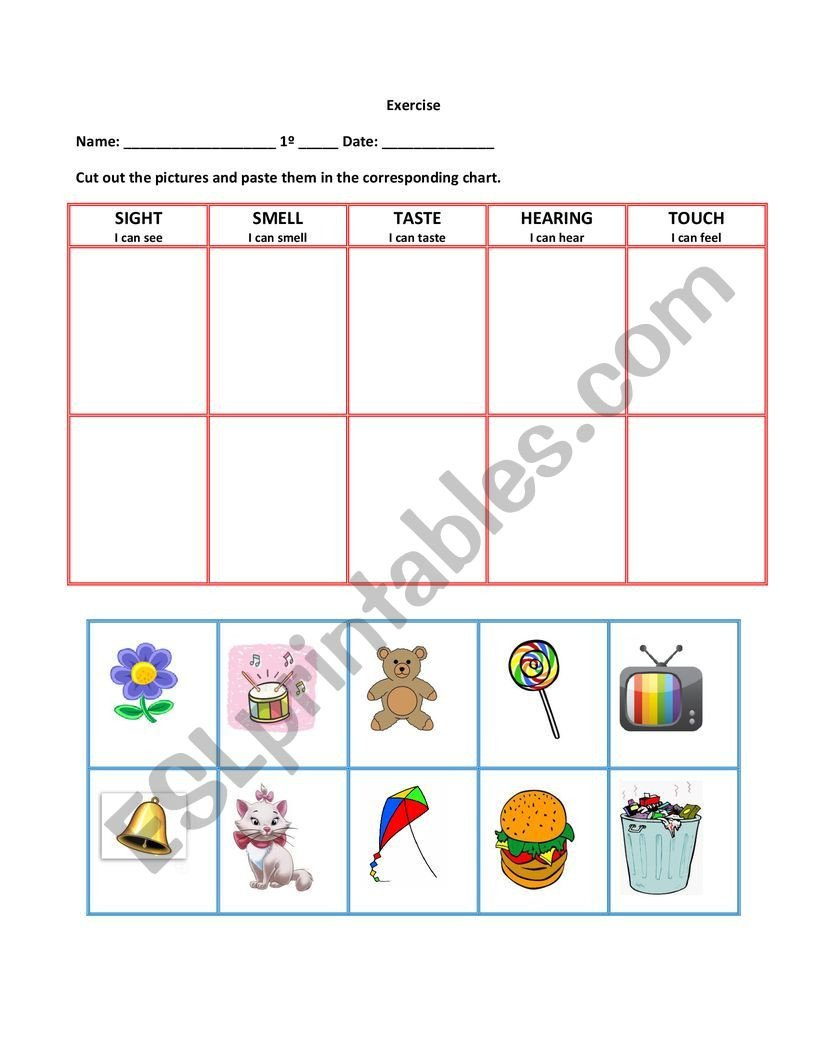 Free Printable Five Senses Worksheets Five Senses Activity Esl Worksheet by Elteachernick