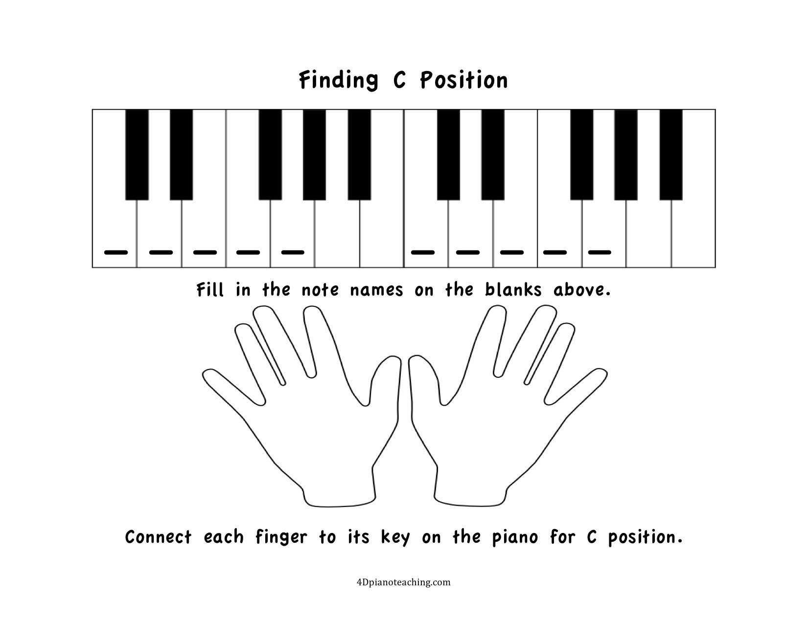 Free Printable Keyboarding Worksheets Free Printables C Position Worksheets 4dpianoteaching