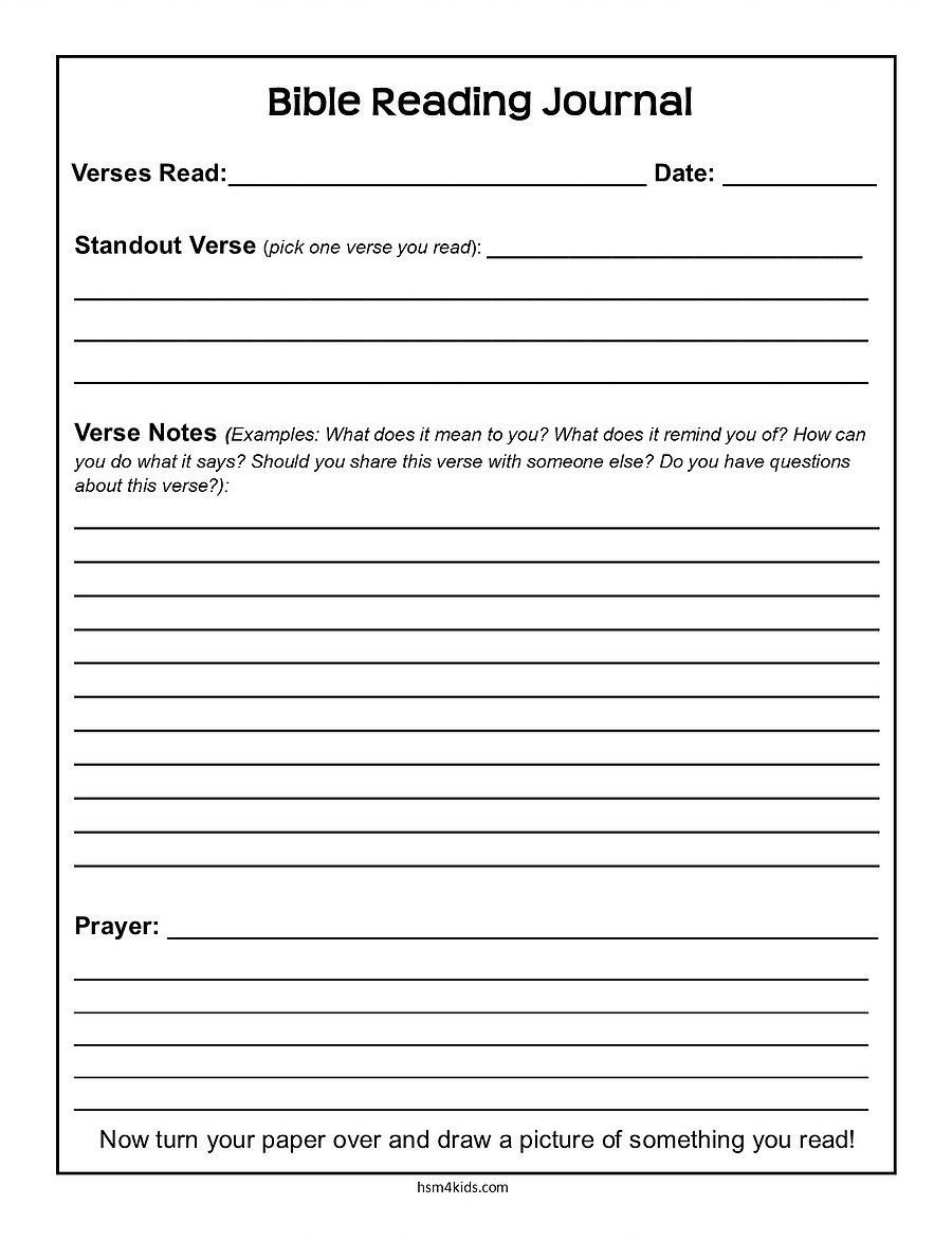 Free Printable Religious Worksheets Free Bible Journal Page