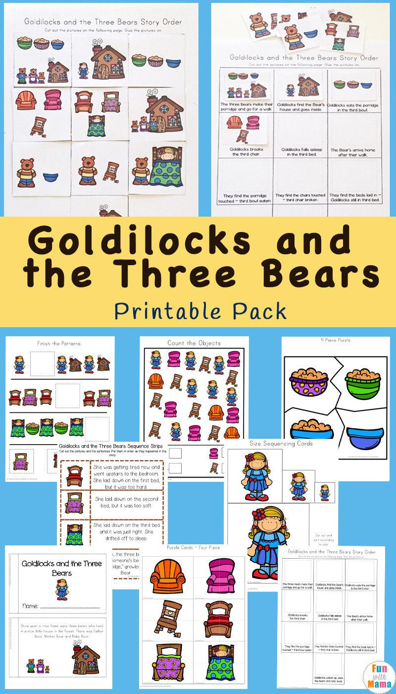 Free Printable Story Sequencing Worksheets Goldilocks and the Three Bears Printable Pack Fun with Mama