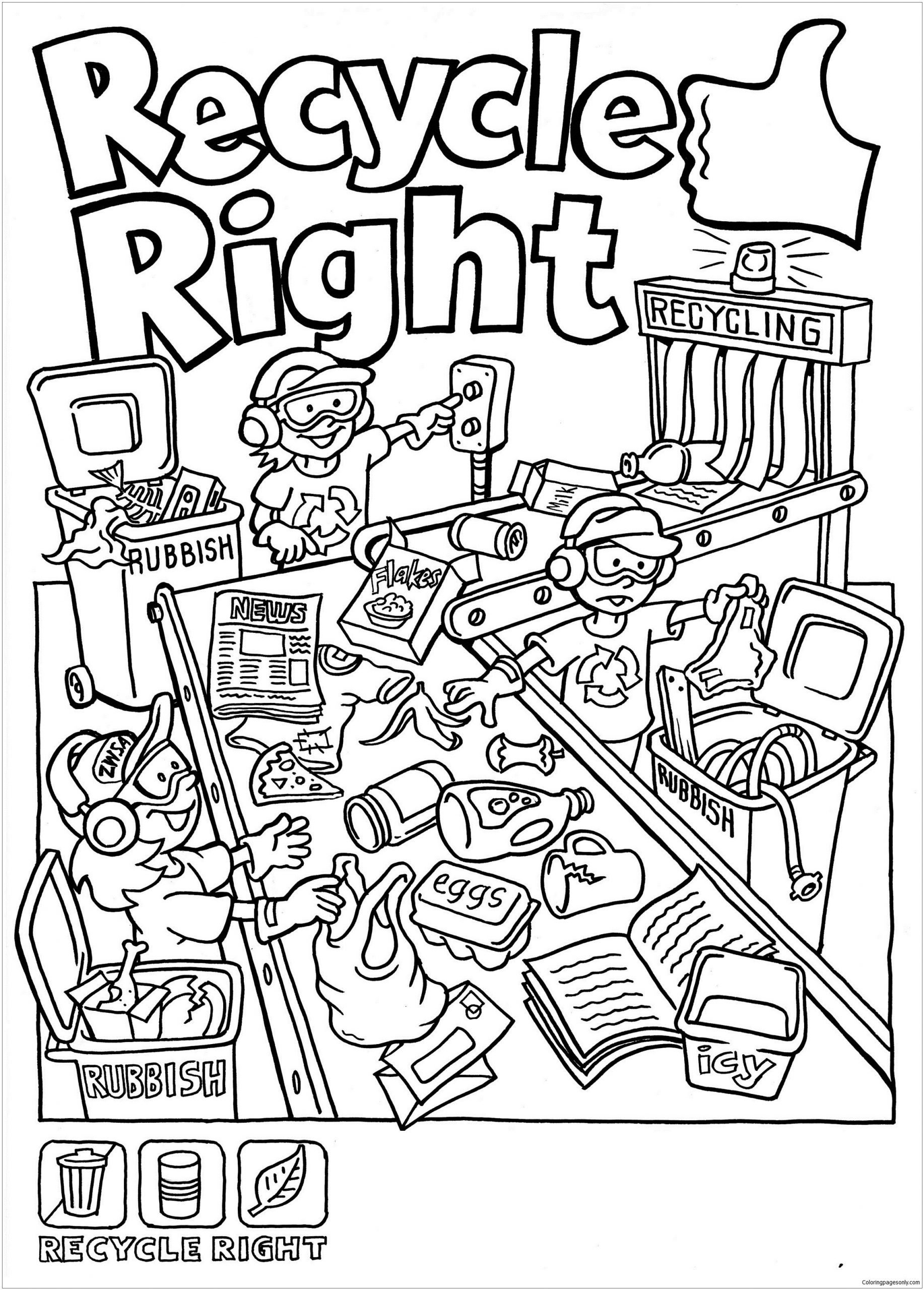 Free Recycling Worksheets Recycle Right Coloring Page Free Coloring Pages Line