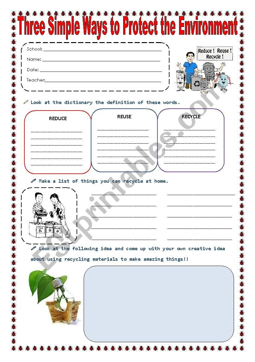 Free Recycling Worksheets Reduce Reuse and Recycle Esl Worksheet by sonyta04