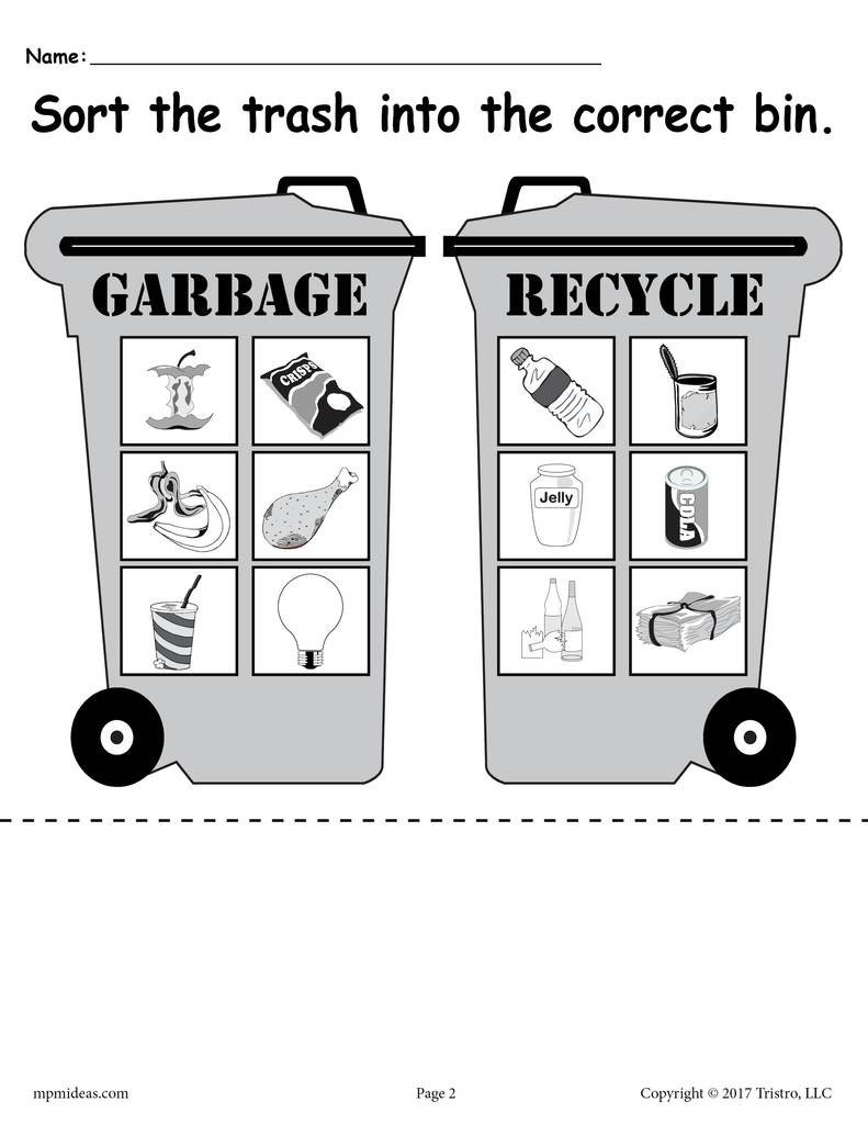 Free Recycling Worksheets sorting Trash Earth Day Recycling Worksheets 4 Printable Versions