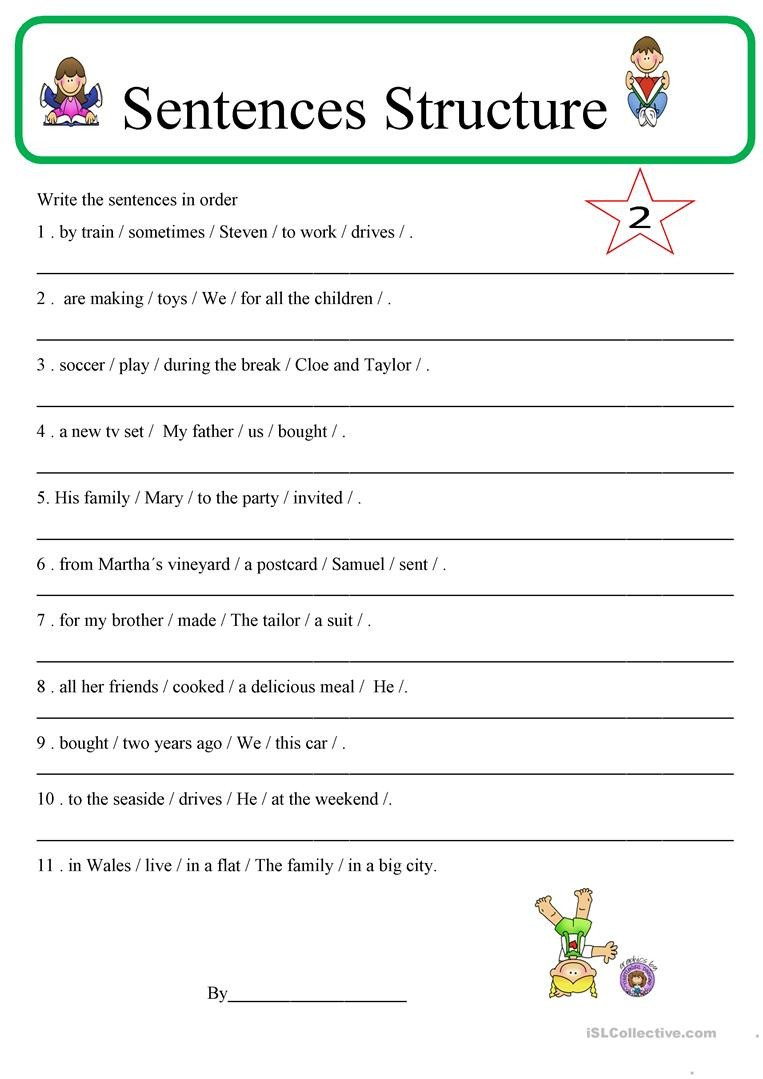 Free Sentence Structure Worksheets English Esl Sentence Structure Worksheets Most Ed