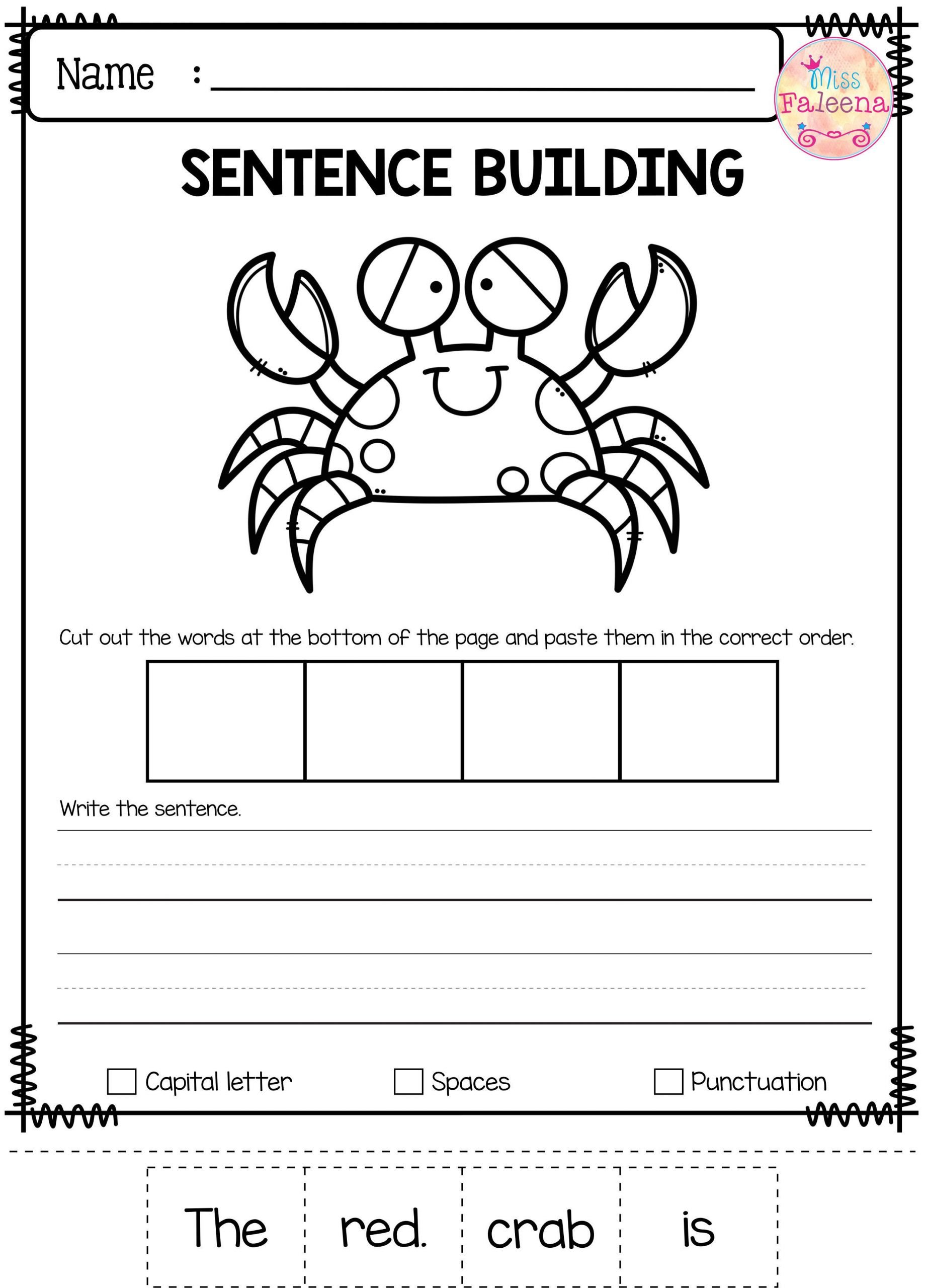 Free Sentence Structure Worksheets Free Sentence Building