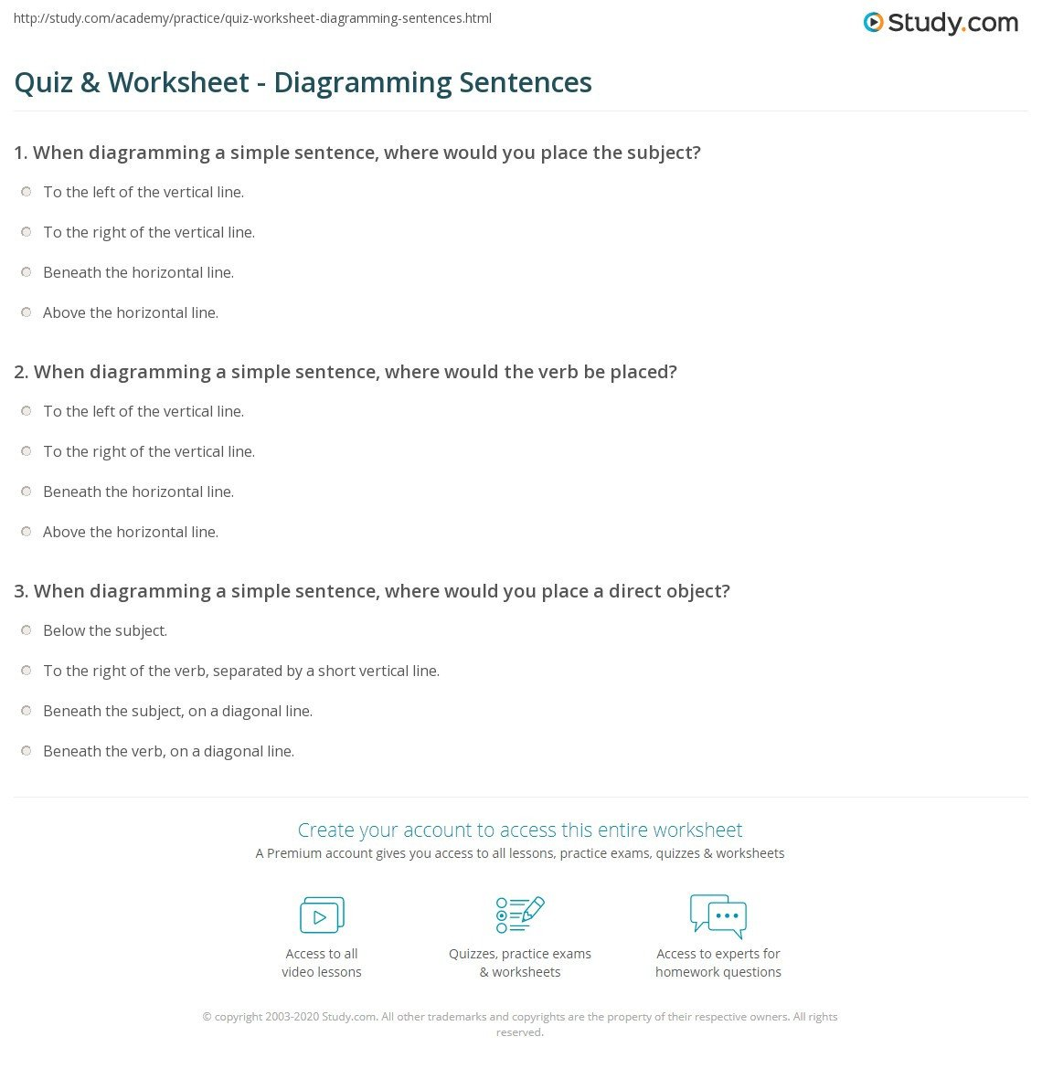 Free Sentence Structure Worksheets Sentence Diagramming Worksheet
