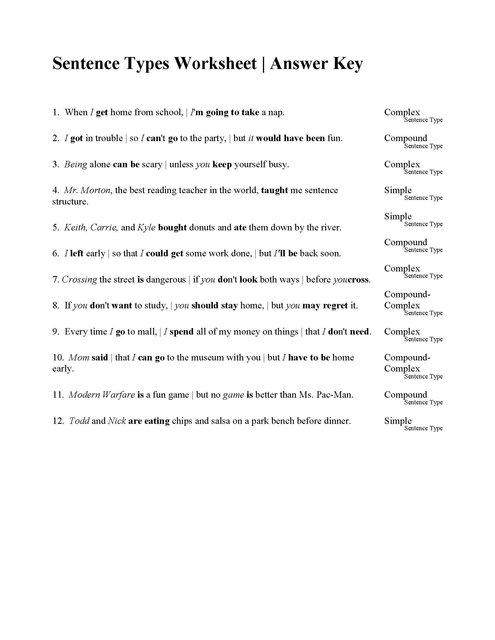 Free Sentence Structure Worksheets Sentences Types Worksheet