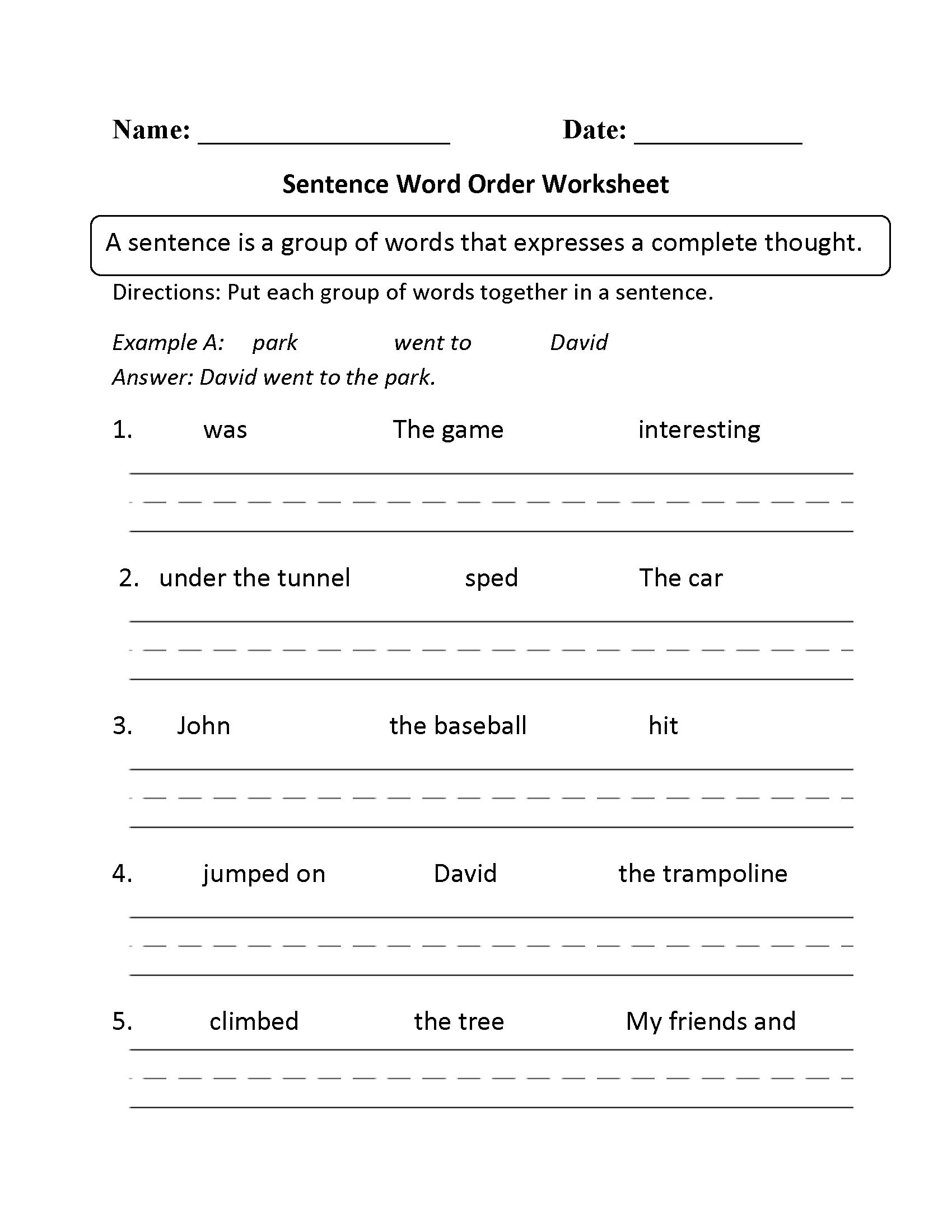Free Sentence Structure Worksheets Spanish Sentence Structure Worksheets