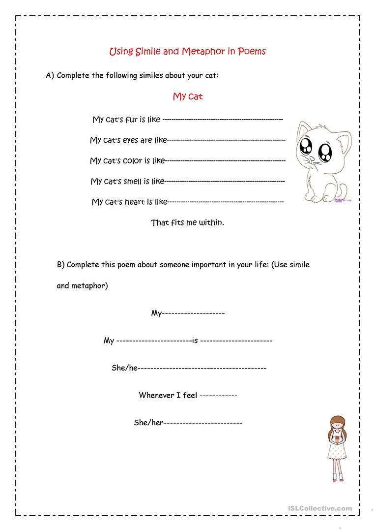 Free Simile Worksheets Simile & Metaphor Poems English Esl Worksheets for