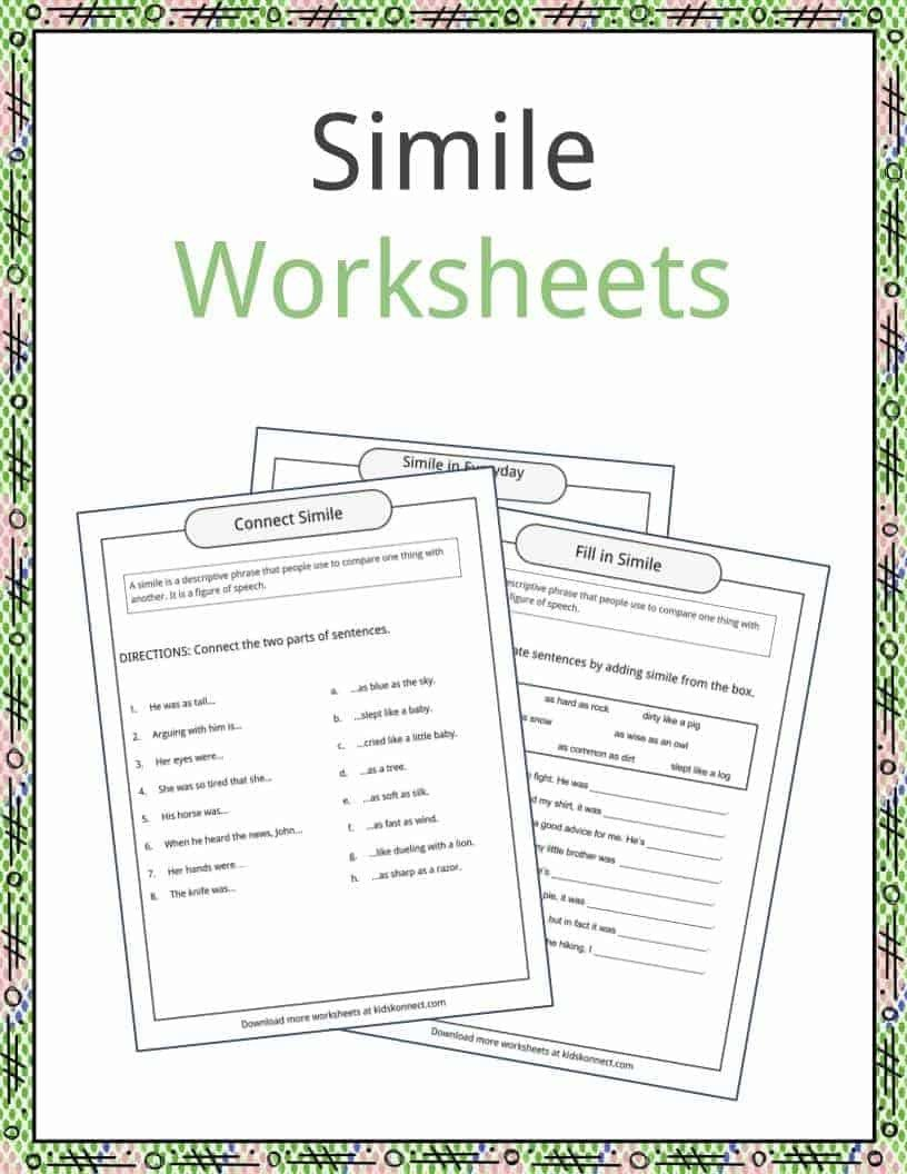 Free Simile Worksheets Simile Examples Definition and Worksheets