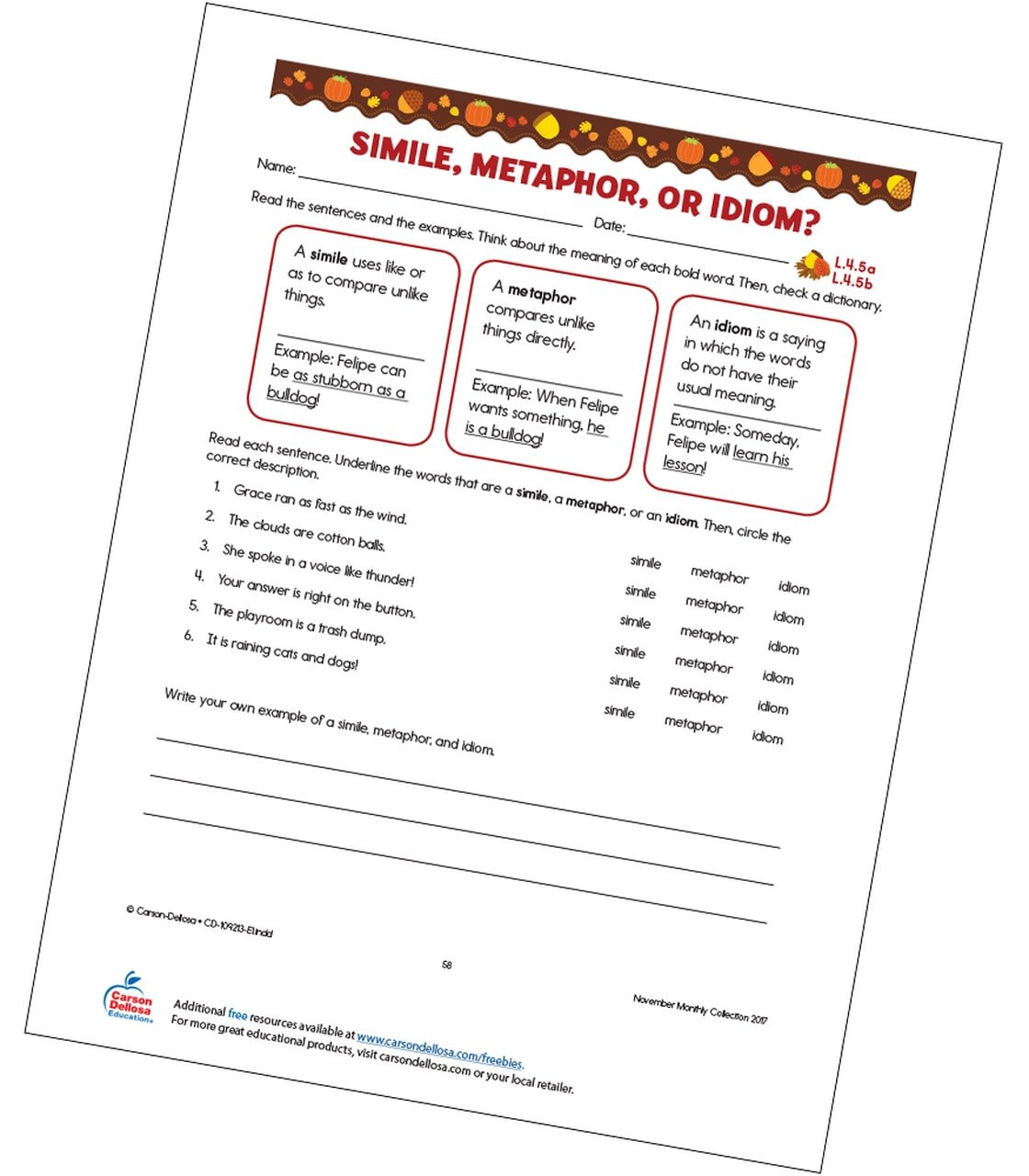 Free Simile Worksheets Simile Metaphor or Idiom Free Printable