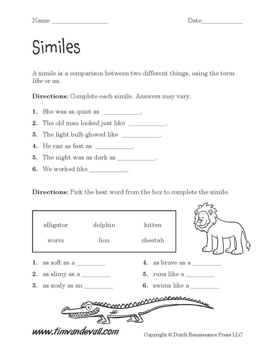 Free Simile Worksheets Simile Worksheet Printable 927—1 200 Pixels