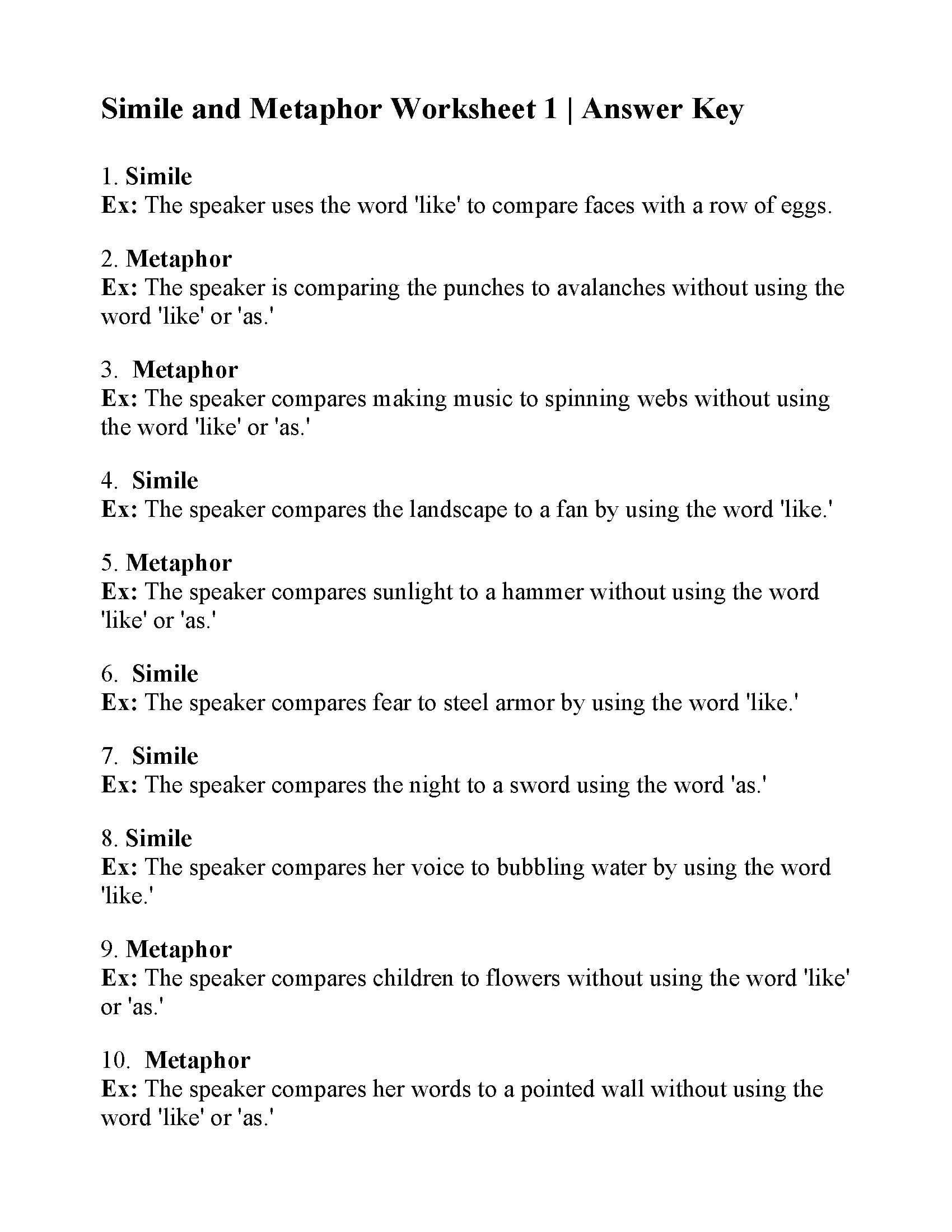 simile and metaphor worksheet 1 answers