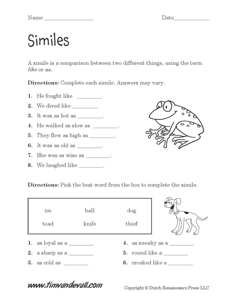 Free Simile Worksheets Simile Worksheets Pdf S Beatlesblogcarnival