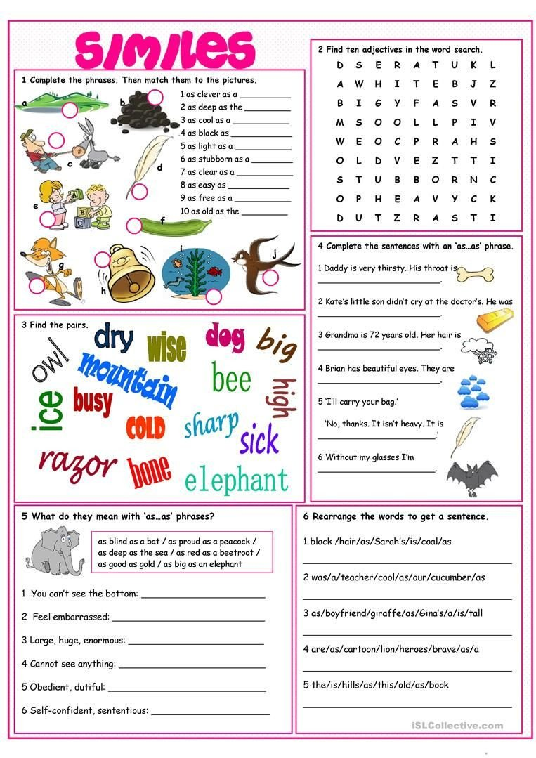 Free Simile Worksheets Similes Vocabulary Exercises