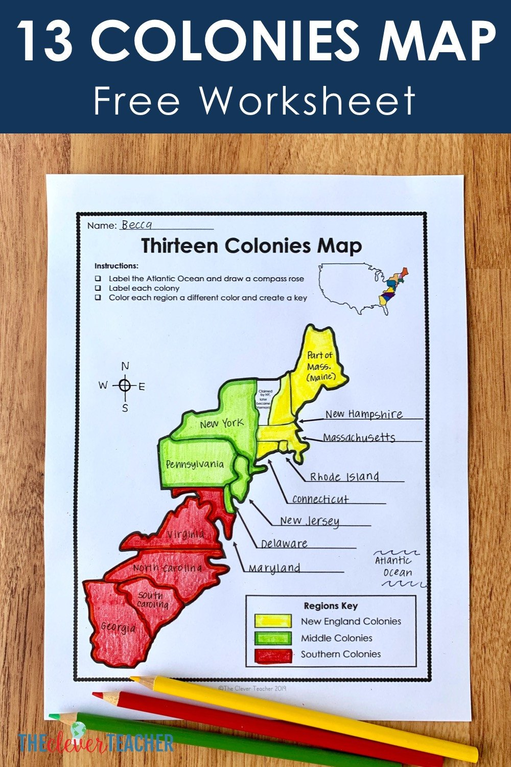 Free Us History Worksheets 13 Colonies Free Map Worksheet and Lesson for Students