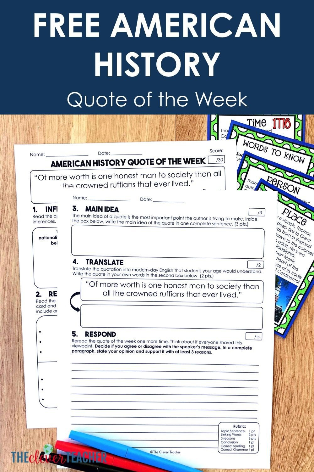 Free Us History Worksheets American History Quote Of the Week Task Cards & Literacy