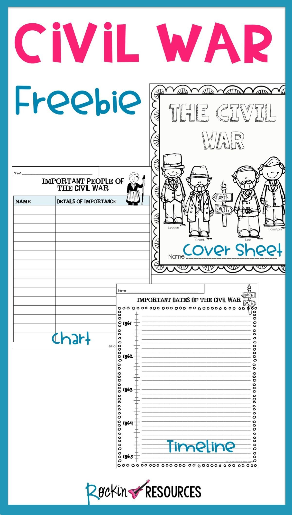 Free Us History Worksheets Civil War Timeline Cover Page and Chart Free