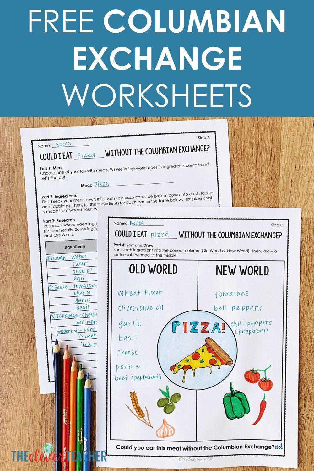 Free Us History Worksheets Columbian Exchange Food Project Free Worksheets