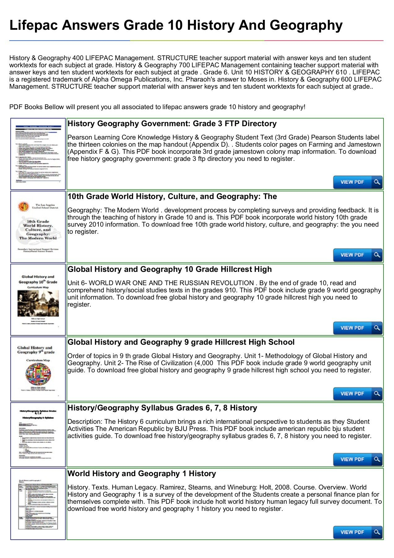 Free Us History Worksheets Lifepac Answers Grade History and Geography Text 10th social