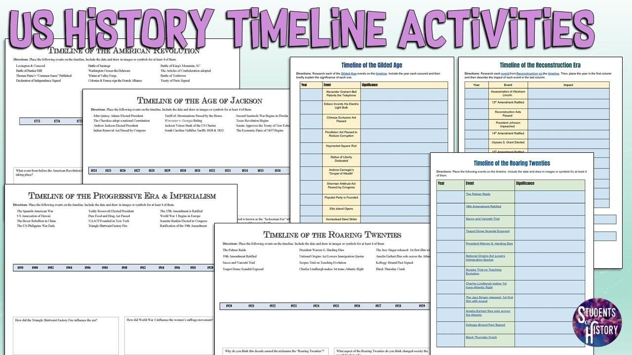 Free Us History Worksheets Us History Printable Timeline Activities