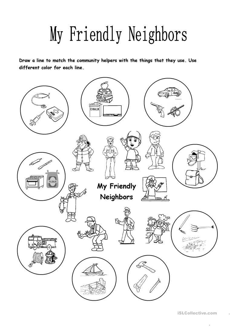 Friendly Numbers Worksheet My Friendly Neighbors Worksheet Free Esl Printable School