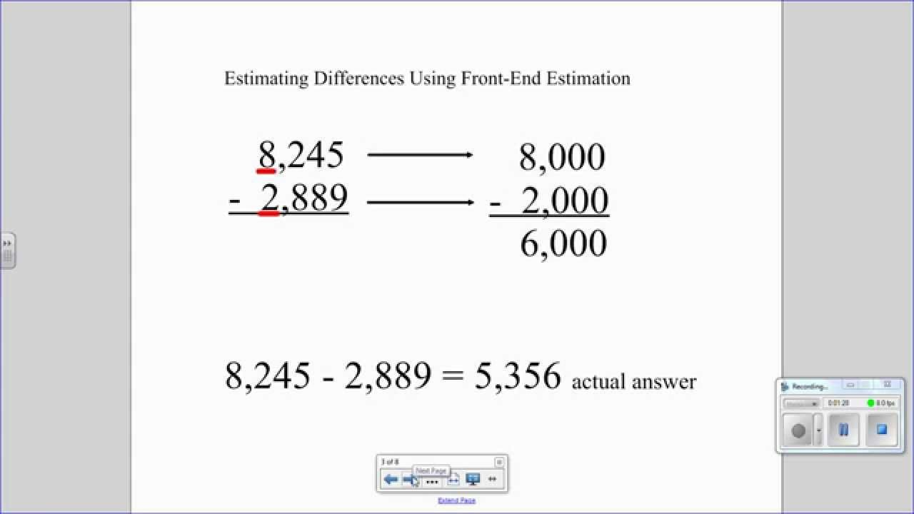 Front End Estimation Worksheets Estimating Sums and Differences with Front End Estimation