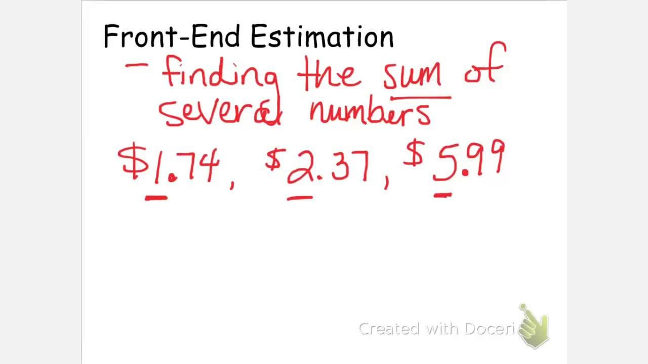 Front End Estimation Worksheets Front End Estimation and Patible Numbers solutions