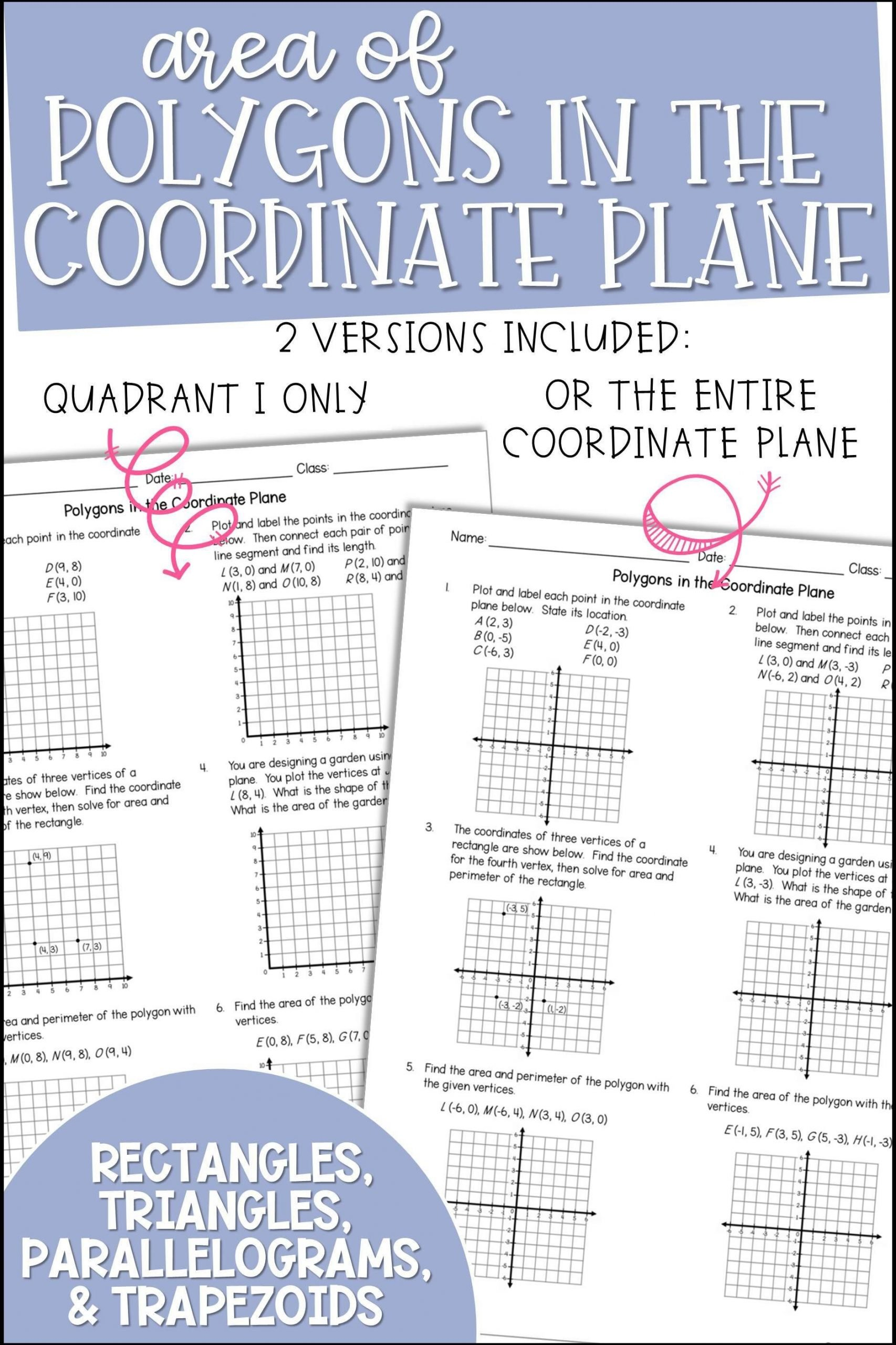 Fun Coordinate Plane Worksheets area Of Polygons In the Coordinate Plane